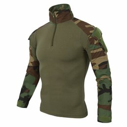 Wholesale Orange Pads - Airsoft Camouflage Combat Shirt Light Weight Rapid Assault Long Sleeve Frog Shirt with Removable Elbow Pads Tactical Shirt