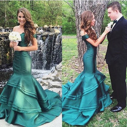 Wholesale Pictures Tires - 2017 Green Satin Abendkleider Mermaid Evening Dresses Tired Zipper Off Shoulder Long Prom Party Gowns Vestidos