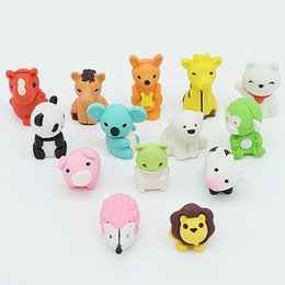 Wholesale Fun Set - 14pcs  set Animal eraser eraser set School and office supplies erasers Lovely drawing correction tool Kawaii stationery rubber Fun rubber