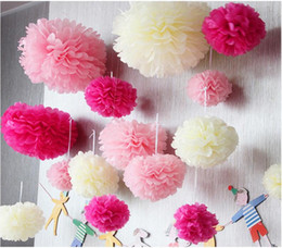 "Wholesale Pompom Paper - 4"" 6"" 8""(10cm 15cm 20cm) Tissue Paper Pom Poms Mix Color Flower Kissing Pompom Balls for Wedding party home Decoration"