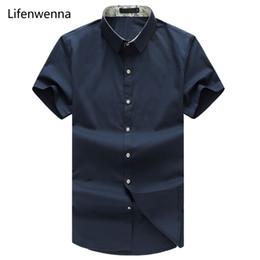 Wholesale Mens Long Summer Dress - Wholesale- Big Size 7XL 8XL 2017 New Summer Men Shirt Casual Solid Short Sleeve Shirt Men Slim Fit Mens Dress Shirts Navy Camisa Masculina