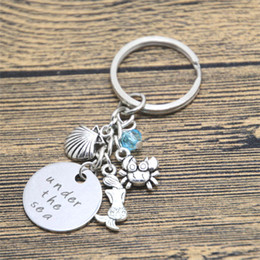 Wholesale Little Boys Girls - 12pcs lot Little Mermaid Inspired keyring. Under The Sea Silver tone crystal for women or girls