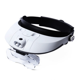 Wholesale Headlamp Magnifying - Headband Magnifier With 5 Replaceable lens Detachable LED Light Illuminated Magnifier 6X Eye Glass Magnifying Loupe Headlamp +B