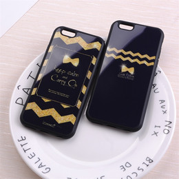 Wholesale Iphone Golden Cover - Cute Golden Bow Stripe Keep Cool Mirror Soft Phone Case Cover For iPhone 6 6S 6Plus 7 7Plus 5 5S SE