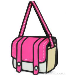 Wholesale 1d Cartoon - Pop Tide Brand New Fashion 2D Jump Style 1D Drawing From Cartoon Paper Comic Shoulder Bag Messenger