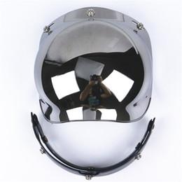 Wholesale Motorcycle Half Helmet Yellow - Wholesale- Universal viseira bolha 3-Snap Flip up Adjustable Lens Bubble Visor Face Shield Mask Motorcycle Helmet Moto Casco Half Helmets