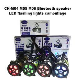 Wholesale Super Flash Lights - CH-M04 M05 M06 Bluetooth speaker LED flashing lights camouflage wireless portable mini stereo super brass FM radio TF USB