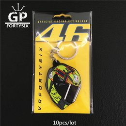 Wholesale Keychain Packaging - 10pcs lot VR46 THE DOCTOR motoGp Keyring Motorcycle helmet keychain PVC Rubber soft Keychains with package yellow for Rossi 46