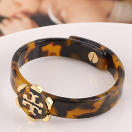 Wholesale Parts Plate - Top quality Brass material metal clasp and hollow design pad lock Leopard resin part bangle in 1.2cm width women bracelet 5.7cm innerdiam
