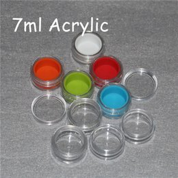 Wholesale Food Storage Jars Wholesale - 7ml clear acrylic silicone wax concentrate containers, Non-stick silicone Dab Hash Oil Dry Herb Storage Jars 100% food grade Silicon box