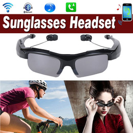 Wholesale Lens For Headset - Sport Stereo Wireless Bluetooth Headset Sun lens Earphones Sunglasses mp3 Handfree Riding Glasses Earbuds for iPhone Xiaomi Huawei Samsung