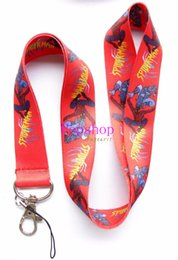 Wholesale Spiderman Charms - Wholesale 50pcs Classic Hero Red Spiderman Mobile Phone Lanyards Neck Straps Charms ID Holder,Key Chain
