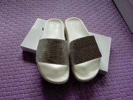 Wholesale Pink Rhinestone Sandals - (Dust Bags+ Box) mystic medusa rhinestone slide Sandals Scuffs Mens Leather Rubber Massage 36-45