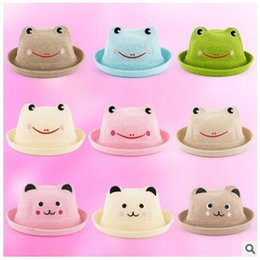 Wholesale Childrens Animal Caps - Spring summer the frog panda cubs straw hats wholesale childrens infant animal sunhats sunscreen caps