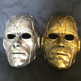 Wholesale Cat Head Costume Adult - Retro Vintage Stone Man Full Head Mask Halloween Masquerade Costume Mask Cosplay 2 Colour (Gold and SIlver) One Size Fit Most