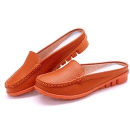 Wholesale Clog Slippers - Shoes Woman Fashion sandals women summer half slippers flip flops Genuine Leather sandals clogs Shoes Woman Big Size 35-41