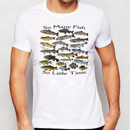 Wholesale Fishing Clothes Men - Wholesale- Summer Men Funny So many fish freshwater Printed T Shirt Fashion Novelty Short Sleeve Tee Tops Homme Clothes