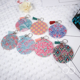 Wholesale keychain blanks wholesale - Acrylic Lilly Key Fob Wholesale Blanks Round Keychain With Metal Buckles In Front And Tassel 7 Colors DOM106620