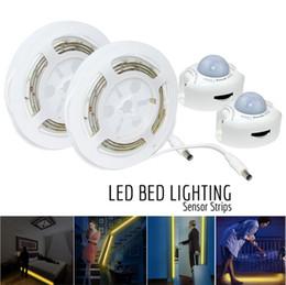 Wholesale Sensor Timer - Motion Activated Bed Light Flexible LED Strip Sensor Night Light Bedside Lamp with Automatic Shut Off Timer Sensor Bedroom Cabinet Hallway