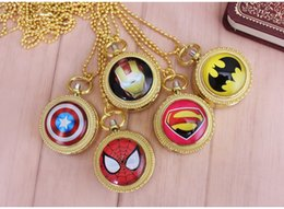 Wholesale Pocket Watch Lockets - Spiderman Iron man batman Captain America spiderman Pocket Watch Floating Glass Lockets Necklace Vintage Pocket Watch Necklace