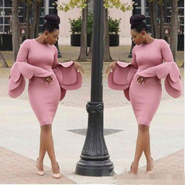 large lighted picture Promo Codes - 2019 New Arrival Vintage Saudi Arabia Prom Dresses Large Petals Design Long Sleeves South African Sheath Knee Length Evening Party Vestidos