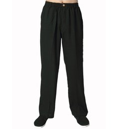 Wholesale Tai Chi Cotton Pants - Wholesale-Black Chinese Men Cotton Linen Kung Fu Pant Traditional Wu Shu Tai Chi Trousers Casual Pants Size S M L XL XXL XXXL 2350