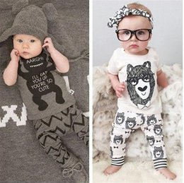 Wholesale Set Little Bear - Toddler Baby Summer Clothes Sets Outfits Kids Boys Girls Cartoon Bear Little Monster T-shirt Tops+Pants 2pcs Baby Clothing Suit