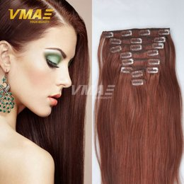 Wholesale Light Auburn Human Hair Clips - Clip In Women Long Straight Hair Extensions Brazilian Human Straight Hair 100% Human Hair Natural Color Clip In 8Pcs 120g
