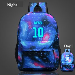 Wholesale Night Backpack - Teenagers School Bags for Boys Messi Night-luminous Travel Bags Galaxy School Bag For Kids Gift Fans Backpack