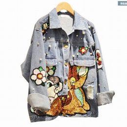 Wholesale Mori Plus Size - Wholesale- 4XL Plus size New 2017 autumn women street animal sequins jeans jacket long sleeve loose hole denim coat Mori Girl student brand