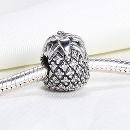 Wholesale Pandora Pineapple - Real 925 Sterling Silver Not Plated Pineapple Cubic Zircconia European Charms Bead Fit Pandora Snake Chain Bracelet DIY Fashion Jewelry