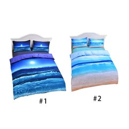 Wholesale cheap duvets - New Beach And Ocean Bedding Hot 3D Print Duvet Cover Cheap Vivid Comforter Set Twin Queen King Wholesale DHL Free 0711033