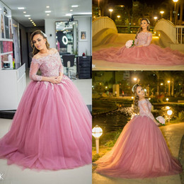 Wholesale Ruffle White Collar Shirt - Vestidos de 15 Anos Ball Gown Quinceanera Dresses 2018 Off Shoulder Long Sleeves Appliques Prom Party Dress