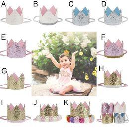 Wholesale Wholesale Glitter Flowers - Baby Girls sequins Crown Rainbow Flower headbands Baby Girls Headband Glitter Gold Birthday Kids Hair Accessory Smash Cake Baby Birthday Hat