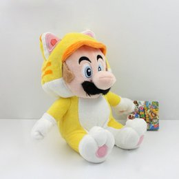 "Wholesale Mario Luigi Games - Super Mario 3D World Plush Toy Doll 9"" Neko Cat Mario Luigi Peach Mushroom Retail 1Pcs"