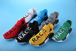 Wholesale New Cheap Men Women NMD HUMAN RACE Pharrell Williams Discount Classic Fashion Running Sport Shoes colors in yellow us size