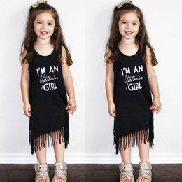 Wholesale Top Selling Kids Clothes - Hot Selling Infants Kids Baby Summer Clothes Sleeveless Tassel Tops T-Shirt Dress 0-6Y