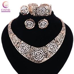 Wholesale vintage rose gold bangle bracelet - Hot Sales Fashion Vintage Hollow Out Gold Color Rose Flower ChokerCollar Short Chain Necklace Bangle Earing Ring