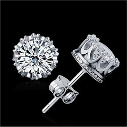 Wholesale Diamond Encrusted - The round zircon Crystal crown earrings with a crown of crown earrings 925 silvering diamond-encrusted love CA323