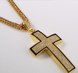 Wholesale Snake Necklace Hiphop - Tide brand full of drilling HIPHOP hip-hop cross-shaped necklace pendant, European and American fashion jewelry Alloy Gold Silver Fine g