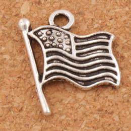 2019 antiquités américaines USA Flags Charms Pendentifs 200pcs / lot 17.9x14.5mm Antique Silver Jewelry DIY L299 Vente chaude antiquités américaines pas cher