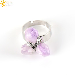 Wholesale Natural Amethyst Gemstone Rings - CSJA Gold Plated Irregular Natural Amethyst Ring for Lady Purple Crystal Gemstone Adjustable Austrian Finger Rings Jewelry E274