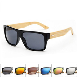 Wholesale Beach Arms - bamboo arm PC frame sunglasses UV protection shades sun glasses for women and men handmade bamboo wood riding driving sunglasses retro