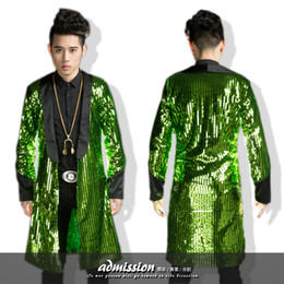 Wholesale Dancer Sequin Dress - Wholesale- green gold men long blazer jacket overcoat outwear male singer dancer performance sequin dress prom ds party show bar nightclub