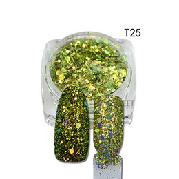 Wholesale Tip 31 - Wholesale- 1Pcs New Arrival Hexagon Shape Mixed Color Nail Art Glitter Pigment 3D Beauty Polish Tips For Nail Art Decoration T25-31