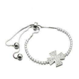 Wholesale Infinity Bracelet Rhinestone Cross - Hot Sale Fine Jewelry 925 Sterling Silver Women's CZ bracelet Cross Charm Silver Beads Infinity Bracelet MB00169