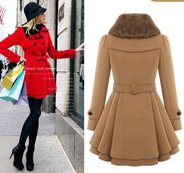 Wholesale Ladies Woolen Tops - Fashion Women Woolen Blends Coats Tops 2017 Autumn Winter Double Breasted Cotton Loose Coat Woman Elegant Ladies Slim Clothing