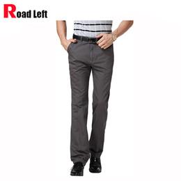 Wholesale Men S Clothing Formal Dress - Wholesale- Men's pure color dress pants Men business casual clothing baggy trousers khaki pants Male cotton cargo pants pantalon homme