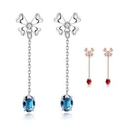 Wholesale Long Diamond Earrings Wedding - Vintage Long Ruby Stud Earrings For Women Wedding Zirconia Earring Cz Diamond Sapphire Jewelry Girl Beautiful Earrings Crystal Jewelry Gifts