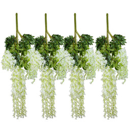 Wholesale Home Garden Products - 12pcs Lot 105cm Artificial Flower Hanging Plant Silk Wisteria Fake Garden Hanging Plants Wedding Decoration Home Garden Products